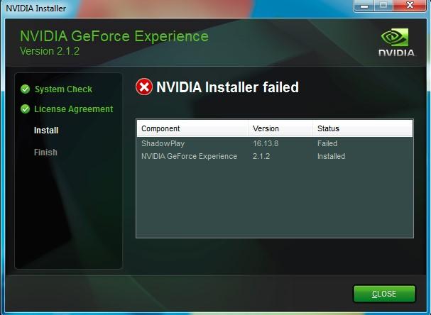 ShadowPlay install failure due to DirectX