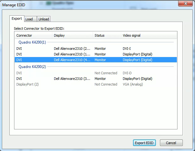 Managing a Display EDID on windows