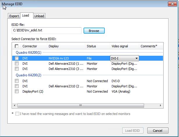 Managing a Display EDID on windows