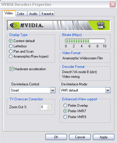 Color controls are disabled within NVIDIA Purevideo Decoder