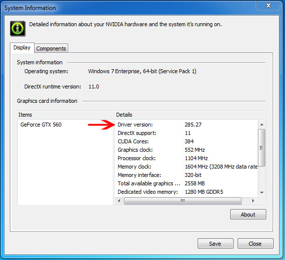 How do I determine which NVIDIA display driver version is