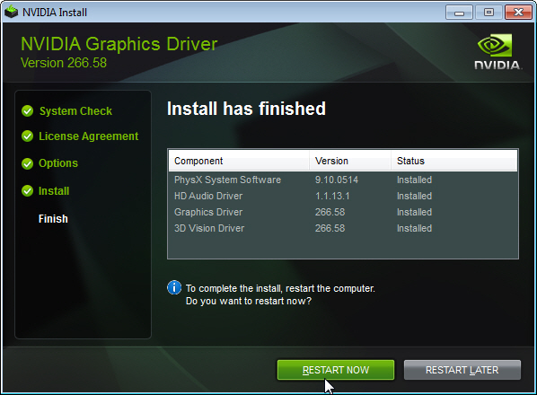 Installing NVIDIA Display Drivers Under Windows 7, Windows 8, or