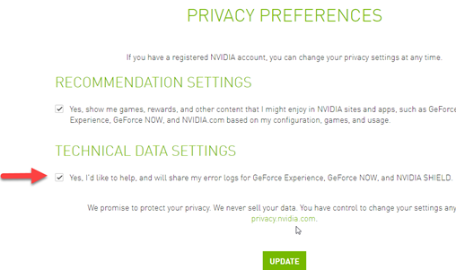 Submitting feedback through Geforce Experience, GeForce Now or SHIELD