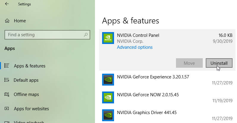 Nvidia Control Panel Windows Store App