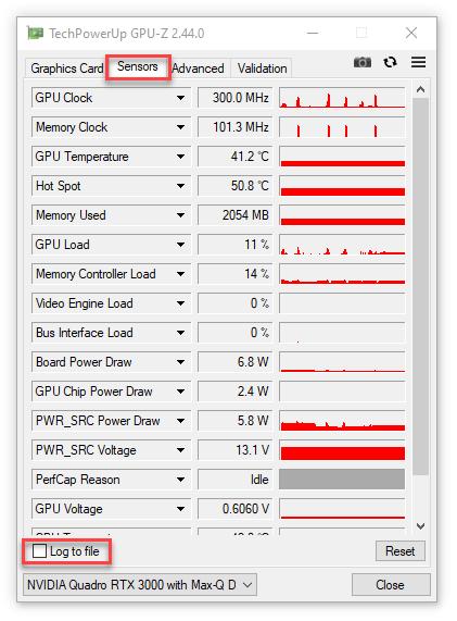 Collecting GPU logs using GPU-Z