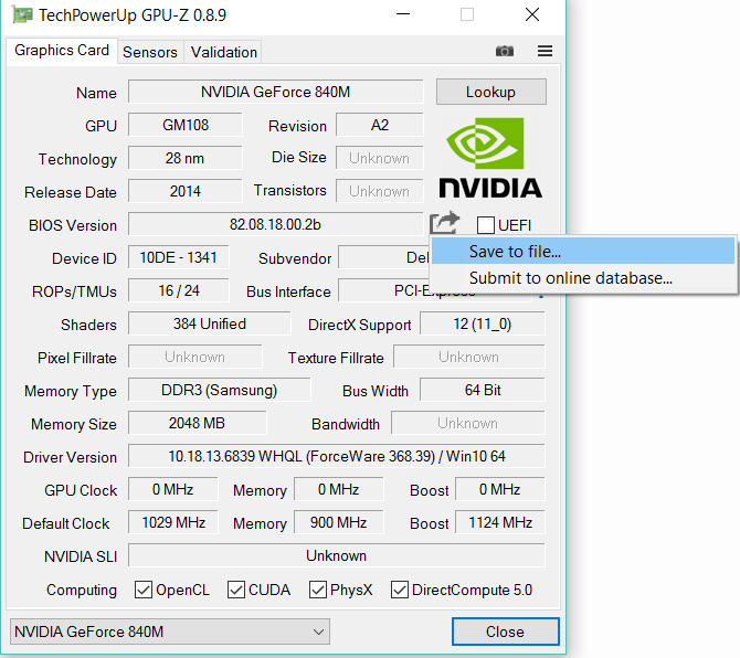 Extracting the GeForce video BIOS ROM file