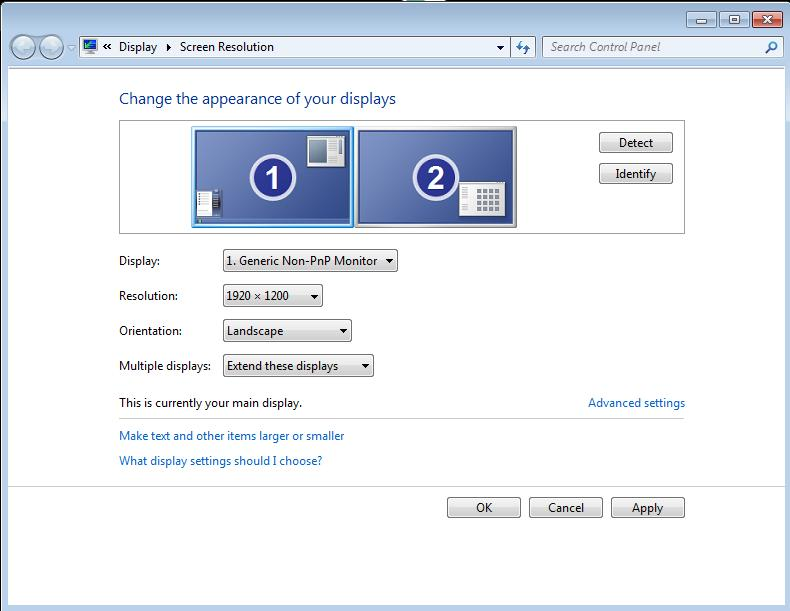 How to setup Horizontal SPAN mode with Overlap on Windows 7