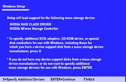Configuring bootable NVIDIA RAID array for a Windows XP 32